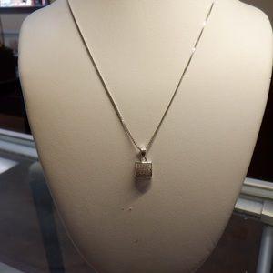 14k white gold CZ square pendant with round CZ.